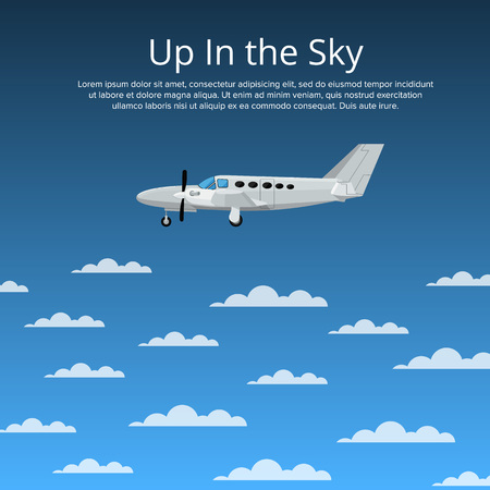 Up in the sky poster with propeller airplane Stockfoto