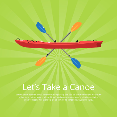Lets take a canoe banner with boat and paddles