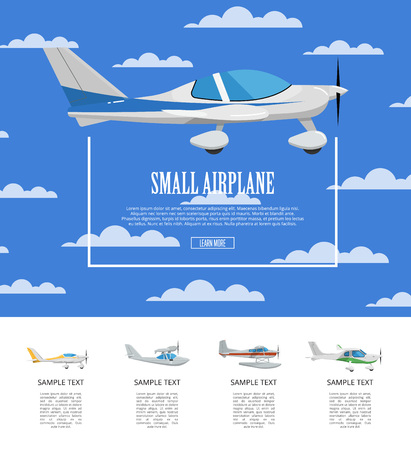 Small airplane poster with propeller aircrafts