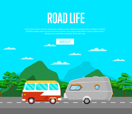 Road life poster with van and camping trailer Stock Photo