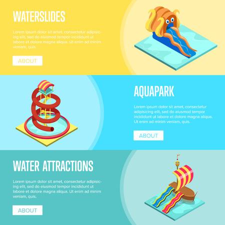 Aqua park water slides isometric design set