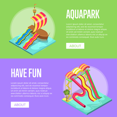Family vacation in aquapark isometric banner set