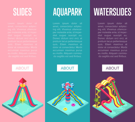 Aquapark waterslides isometric vertical flyers Standard-Bild - 96657098