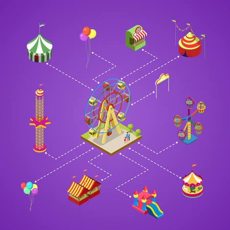 Amusement park infographic with isometric elements