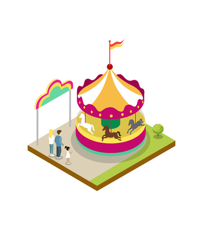Kids carousel isometric 3D element