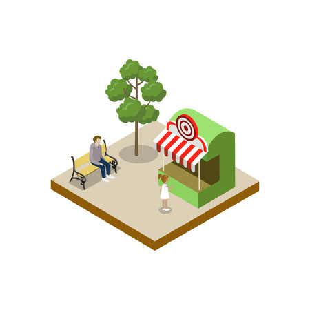Shooting gallery isometric 3D element Illustration