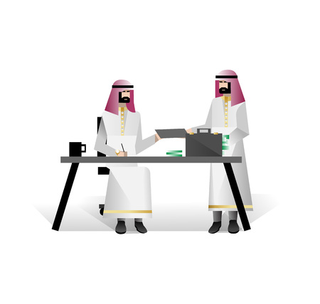 Bearded arabic businessmen conclude a contract