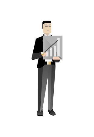 Asian businessman with business diagram