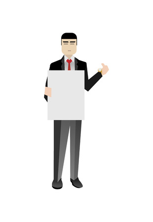 Asian businessman holding blank whiteboard Illustration