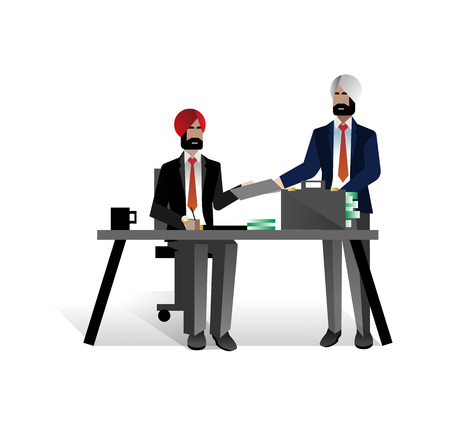 Indian bearded businessmen conclude a contract Illustration