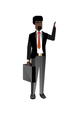 African businessman with suitcase waving hand