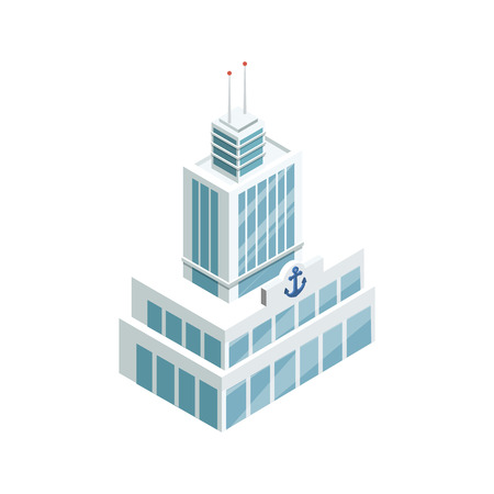 Seaport building isometric 3D element