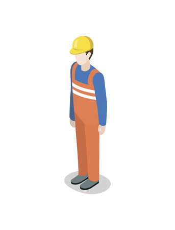 Seaport worker in uniform isometric 3D element