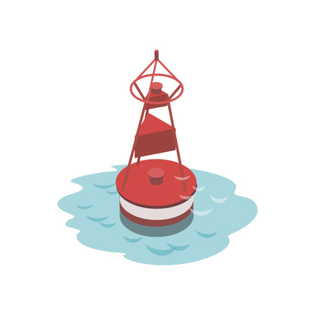 Navigational buoy isometric 3D element Illustration