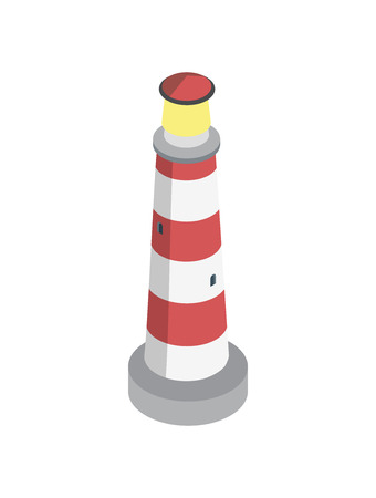 Striped lighthouse isometric 3D element Illustration