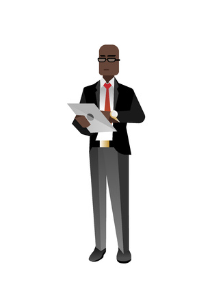 African businessman with tablet computer Illustration