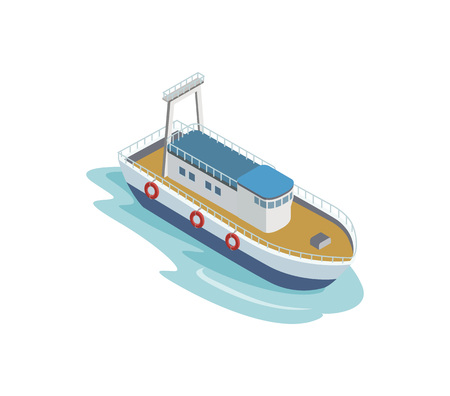 Seaport tugboat isometric 3D element Illustration