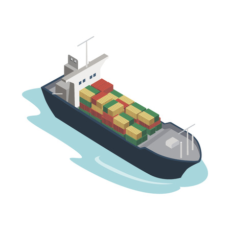 Container ship isometric 3D element Illustration