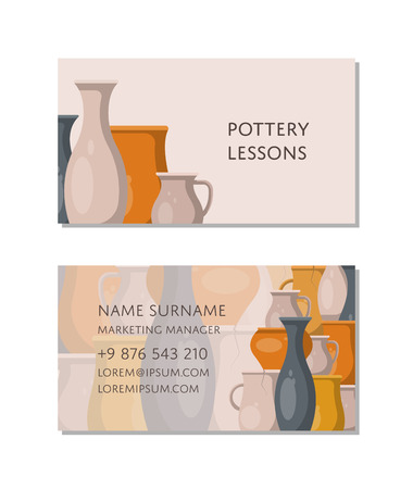Pottery lessons business card template Stok Fotoğraf - 96964293