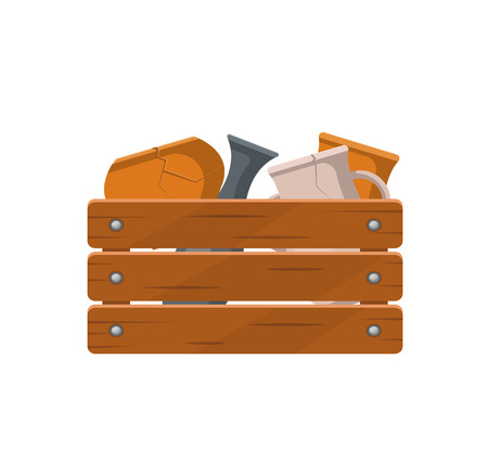 Various pottery in wooden box icon Illustration
