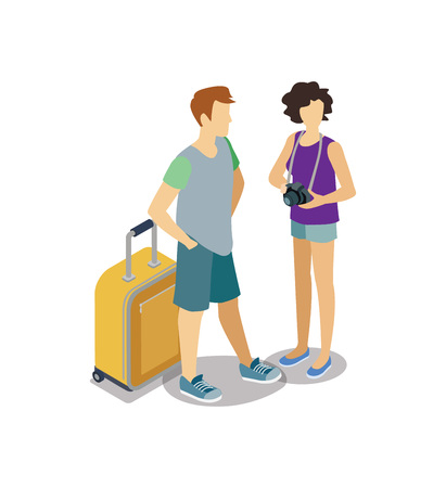 Traveling young couple with travel bag Иллюстрация