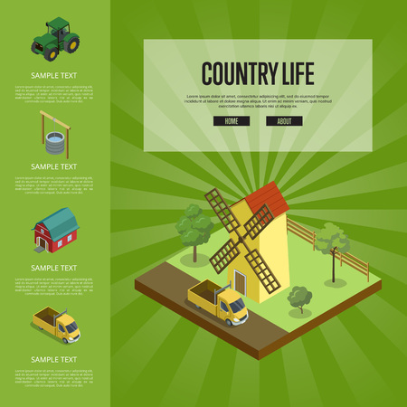 Country life banner with isometric elements Illustration