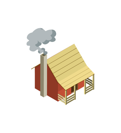 Rural farm house isometric 3D element