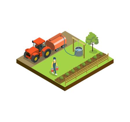 Man watering vegetable beds isometric 3D element Illustration