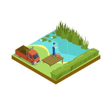 Man fishing in lake isometric 3D element