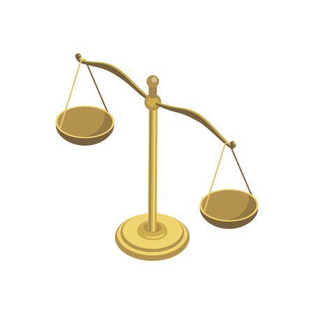 Scales of justice isometric element. Law and judgment legal justice vector illustration.