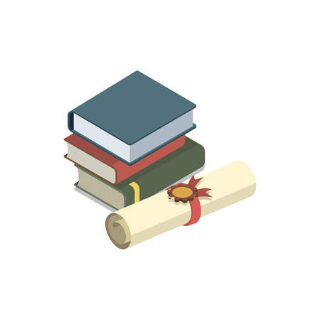 Law books isometric 3D elements
