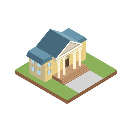 Courthouse building isometric 3D elements