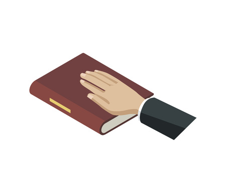 Oath of bible isometric element. Law and judgment legal justice vector illustration.