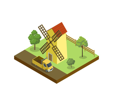 Rural windmill isometric element. Natural farming, traditional agribusiness isolated vector illustration.