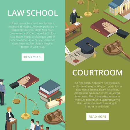 Law school isometric flyers set