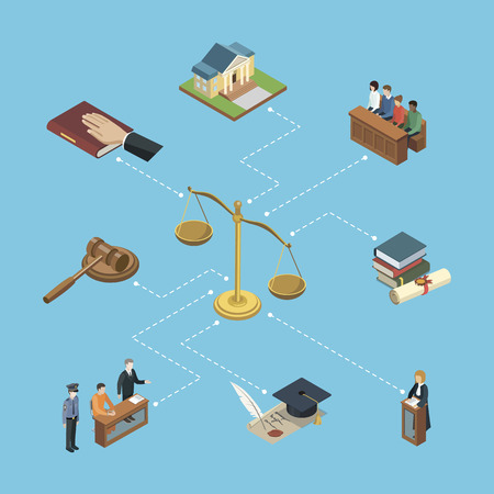 Public justice isometric infographics. Law and judgment legal justice vector illustration