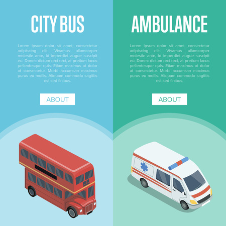 City transport isometric vertical flyers with red double decker bus and ambulance car. Stock Illustratie