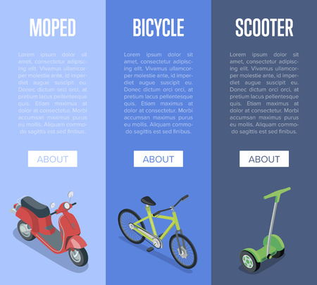 Personal transport isometric vertical flyers with motorbike, electric scooter and bicycle. Compact and eco vehicles, urban traffic, city logistics and infrastructure transportation vector illustration
