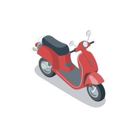 Vintage city scooter isometric 3D element