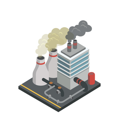 Industrial building factory isometric element. Illustration
