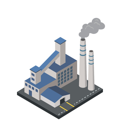 Factory with smoke pipes isometric element.