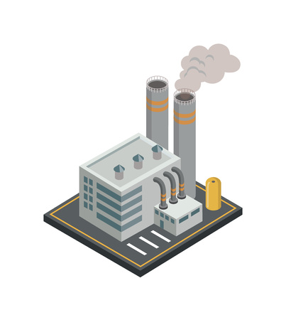 Chemical plant with smoke pipes isometric element.
