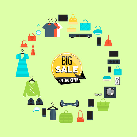 Big sale poster with various goods on green background.