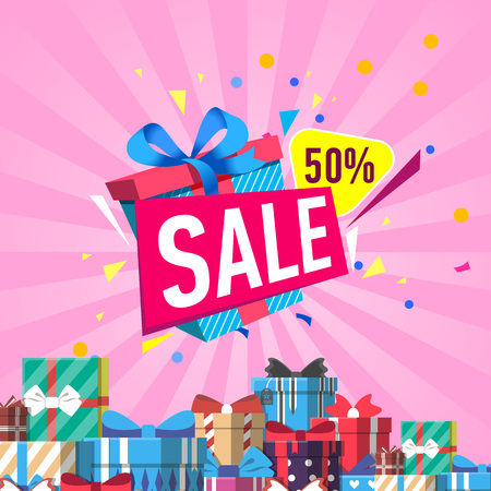 Discount sales proposition vector illustration Illustration