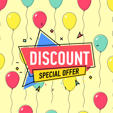 Discount proposition poster with air balloons on yellow background.