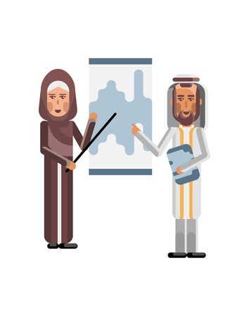 Arabic man and woman doing presentation