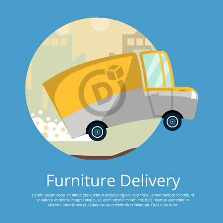 Furniture delivery poster with commercial wagon Stock Photo
