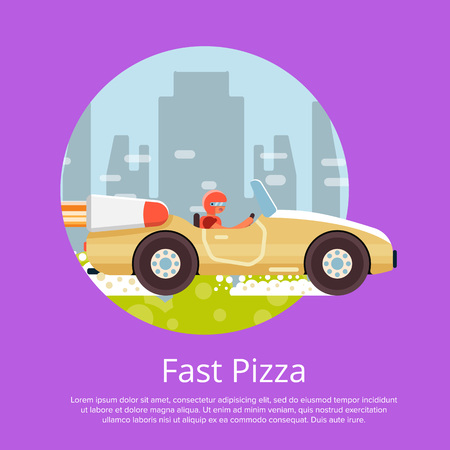 Fast food delivery poster with courier on car