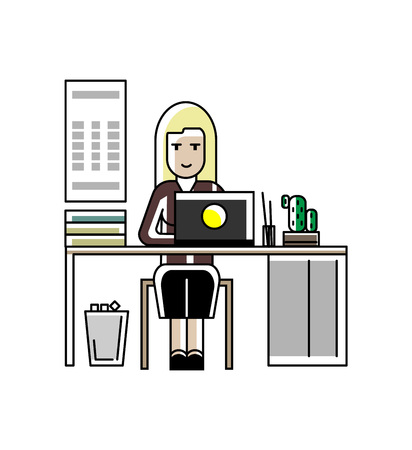 Blonde secretary working at laptop in office Banque d'images - 96923802