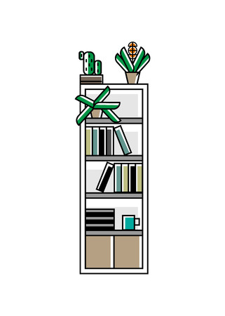 Office bookshelf icon in linear style